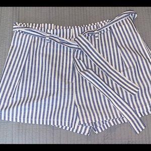 Pinstripe paper bag shorts